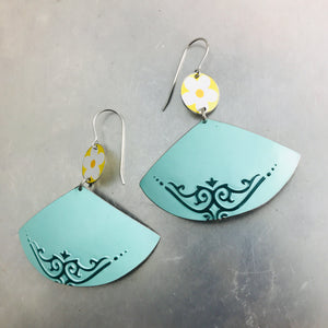 Yellow Flowers & Aqua Fans Upcycled Tin Earrings