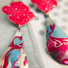 Load image into Gallery viewer, Bright Pink & Marbled Long Teardrops Zero Waste Tin Earrings