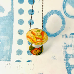 Flowered Oval & Green Crescent Zero Waste Tin Necklace