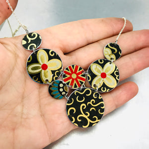 Mixed Black & Gold Multi Circle Upcycled Tin Necklace