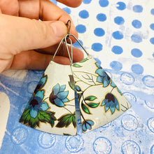 Load image into Gallery viewer, Beautiful Blue Vintage Flowers Upcycled Tin Long Fans Earrings