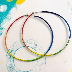 Rainbow Spiraled Tin Big Hoop Earrings