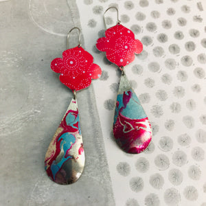 Bright Pink & Marbled Long Teardrops Zero Waste Tin Earrings