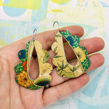 Load image into Gallery viewer, Vintage Flowers Wavy Upcycled Tin Earrings