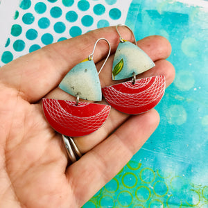 Red Spirograph and Clouds Little Sailboats Tin Earrings