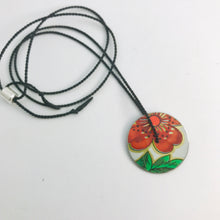 Load image into Gallery viewer, Vintage Orange-y Flower & Green Leaf Circle Upcycled Tin Flip-Flop Necklace