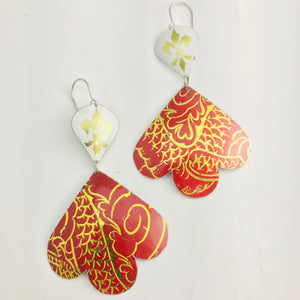 Gold Fleur de Lis on White & Reds Trefoil Upcyled Tin Earrings