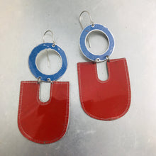 Load image into Gallery viewer, Deep Red & Cornflower Chunky Horseshoes Zero Waste Tin Earrings