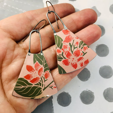 Bright Pink Blossoms on Muted Pink Small Fans Zero Waste Tin Earrings