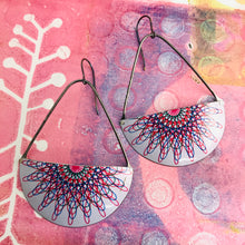 Load image into Gallery viewer, Spirograph Semicircle Large Fan Dangle Earrings