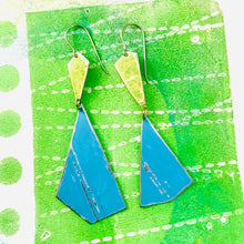 Load image into Gallery viewer, Grass & Sky Narrow Kites Recycled Tin Earrings
