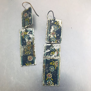 Vintage Flowers in Navy Narrow Rectangles Zero Waste Tin Earrings