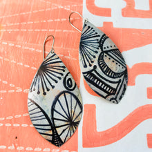 Load image into Gallery viewer, Ink Doodles Upcycled Long Pod Tin Earrings