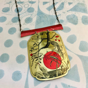 Parrots and Crane Upcycled Tin Necklace