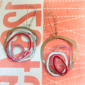 Gold, Snow, Scarlet & Bubblegum Scribbles Again Upcycled Tin Earrings