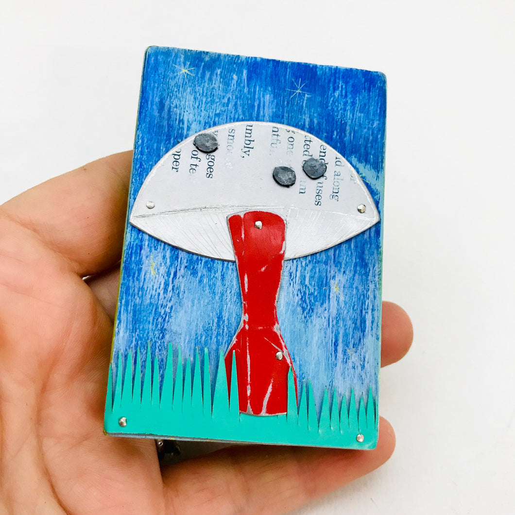 Red Stemmed Mushroom Tiny Tin Art