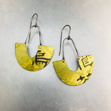 Load image into Gallery viewer, Lacey Yellow Chinese Characters Little Us Upcycled Tin Earrings