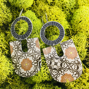 Chocolate & Buckskin Flower Filigree Pattern Chunky Horseshoes Zero Waste Tin Earrings