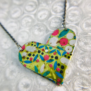 Vintage Mosaic in Gold Tin Heart Recycled Necklace
