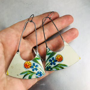 Vintage Flowers on White Recycled Tin Earrings