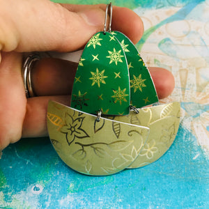 Paris Green & Golds Upcycled Tin Boat Earrings