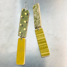 Load image into Gallery viewer, Mixed Greens & Goldenrods Pattern Rectangles Recycled Book Cover Earrings