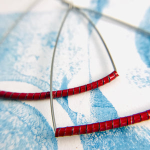 Red Spiraled Tin Triangle Hoop Earrings