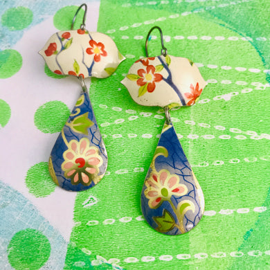 Vintage Flowers Long Blue Teardrops Zero Waste Tin Earrings