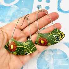 Load image into Gallery viewer, Claret Gerber Daisies Wide Arc Zero Waste Earrings