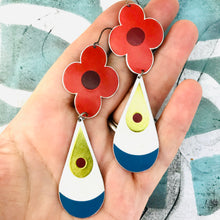 Load image into Gallery viewer, Big Red Flowers and Teardrops Upcycled Long Pod Tin Earrings