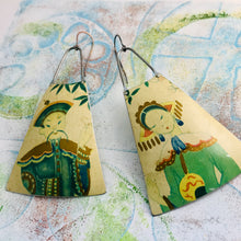 Load image into Gallery viewer, Japanese Couple Upcycled Tin Long Fans Earrings