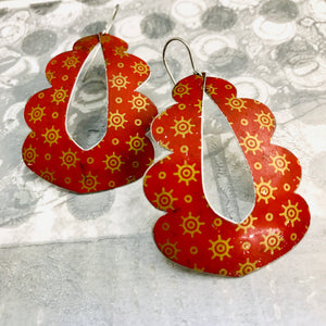 Vintage Scarlet and Golden Starlets Wavy Upcycled Tin Earrings