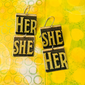 Vintage Butter Her She Recycled Tin Earrings