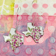 Load image into Gallery viewer, Purple Flowers on White Texas Vintage Wildflowers Upcycled Tin Earrings