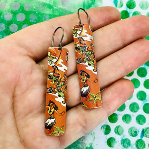 Hula Hula Long Narrow Tin Earrings