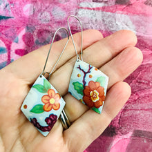 Load image into Gallery viewer, Orange Blossoms Diamonds Upcycled Tin Earrings