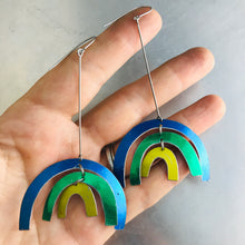 Load image into Gallery viewer, Shimmery Cool Rainbows Upcycled Tin Earrings