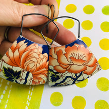 Load image into Gallery viewer, Orange Peonies Large Zero Waste Tin Earrings