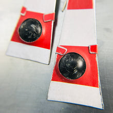 Load image into Gallery viewer, Bright Red & White Black Dome Zero Waste Tin Earrings