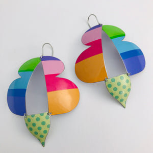 Bright Striped Abstract Butterflies Upcycled Tin Earrings