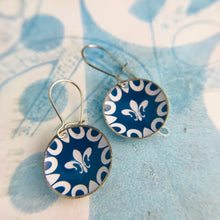 Load image into Gallery viewer, Fleur de Lis on Blue Upcycled Tiny Dot Earrings