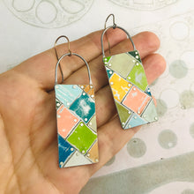 Load image into Gallery viewer, Mixed Colors Tesserae Arched Wire Tin Earrings