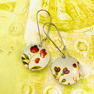 Vintage Flowers Medium Basin Upcycled Earrings