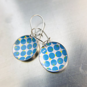 Blue Dot Halftone Pattern on White Upcycled Tiny Dot Earrings
