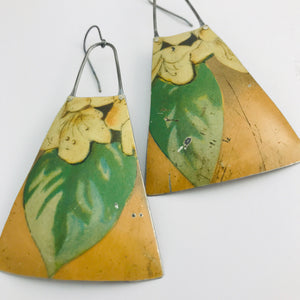 Vintage Dogwood Upcycled Vintage Tin Long Fans Earrings