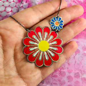 Big Red Flower Zero Waste Tin Necklace