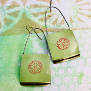Zinnia on Pale Seafoam Recycled Tin Earrings
