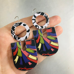 Mixed Blacks Chunky Horseshoes Zero Waste Tin Earrings