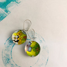 Load image into Gallery viewer, Yellow-y Allover Flowers Upcycled Tiny Dot Earrings