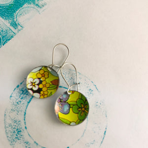 Yellow-y Allover Flowers Upcycled Tiny Dot Earrings